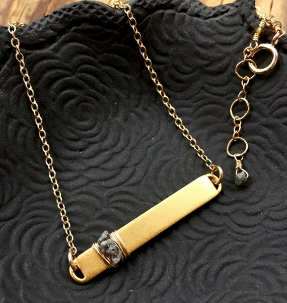 Raw Diamond Bar Necklace 14K Gold Filled Matte Bar Pendant Minimalist Fashion Genuine Rough Diamond Gemstone April Birthstone