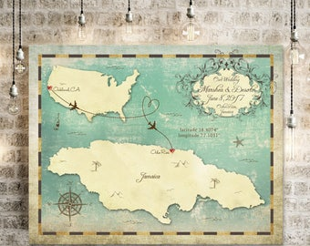 "Wedding Guest Book Map, Wedding Guest Book Alternative, Jamaica Map, Jamaica Wedding Map, Sizes 5""x7"" up to 30"" x 40"""