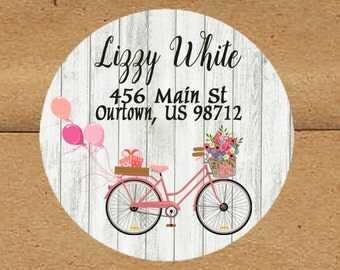 Address Labels/Return Address Labels/Round Address Labels/Party Labels/Invitation Labels/Wedding Address Labels/Vintage Bicycle Return Label