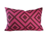 Lumbar - La Fiorentina Wine & Magenta decorative pillow cover - 1 SIDED OR 2 SIDED - Choose Your Size