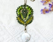 Bohemian necklace, micro-macrame jewelry, beaded, boho chic, free spirit, gypsy, beadwork, beadwoven, olive green, nacre bead, unique gift