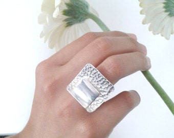Sterling Silver Geometric Textured Ring