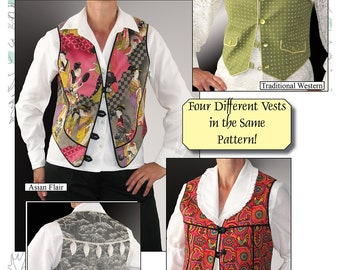 Western Vest Sewing Pattern, Box Vest, Asian Vest, Basic Vest Sewing Pattern, BSS103