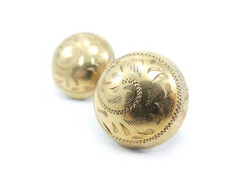 Vintage Etched Dome Earrings, Gold Filled, Screw Backs, Signed Bond Boyd GF
