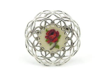 Vintage Cross Stitch Brooch, Red Rose, Needlepoint, Filigree, Silver Tone
