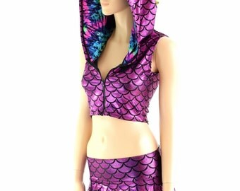 Fuchsia Dragon Scale Sleeveless Zipper Front Crop and Rave Skirt Set w/ Lime Holographic Spikes & UV Glow Tie Dye Hood Liner 154068