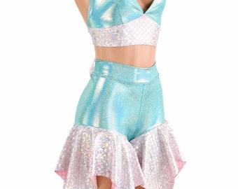 2PC Seafoam Halter Top w/Pink and Silver Mermaid Scale Band & Seafoam Midrise Pixie Shorts w/Pink and Silver Mermaid Scale Hemline - 154222