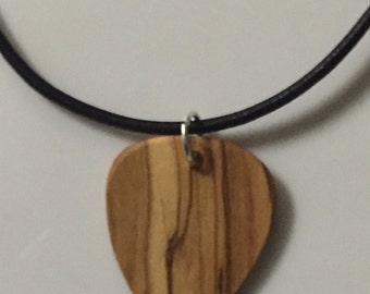 "Olive wood(From Holy Land )pick on leather cord 17-18"" necklace"