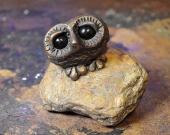 Owl Sculpture, One of a Kind Owl, Owl Figurine, Owl On Rock, Owl Statuette, Owl Gifts, Signed By The Artist, Gifts For Owl Lovers,Glass Eyes