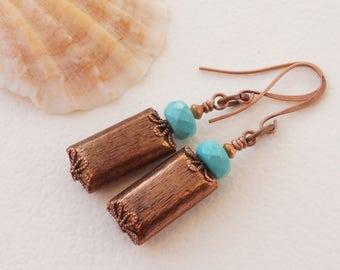 Turquoise earrings, magnesite earrings, blue gemstone earrings, rustic copper earrings, blue and copper earrings, rectangle earrings