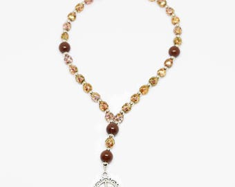 BROWN Handcrafted Anglican Prayer Beads Saints Rosary Necklace Beaded Chain