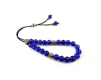 Greek Worry Beads, Komboloi, Blue Acrylic Beads, Silvertone Metal Beads, Meditation Greek Komboloi, Gifts under 10