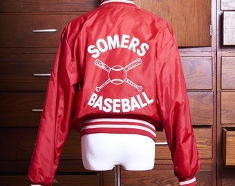 Free Domestic Shipping - Vintage Local League Red Nylon Somers Baseball Jacket - Jason
