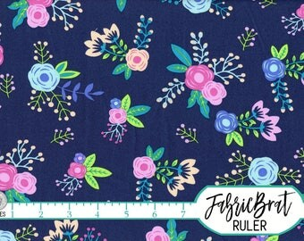 CHIC MODERN FLORAL Fabric by the Yard Half Yard or Fat Quarter Navy Blue & Pink Fabric Flowers Quilt Fabric 100% Cotton Apparel Fabric a1-31
