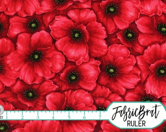 RED POPPY Fabric by the yard Fat Quarter Packed Floral Poppies Coordinate Fabric 100% Cotton Fabric Quilting Fabric Apparel Fabric t2-19