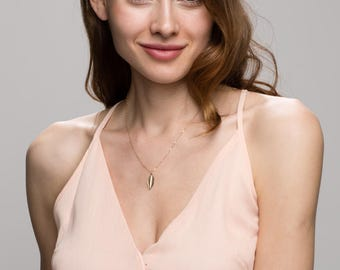 Leaf necklace - Gold filled necklace/Sterling silver necklace  EN012