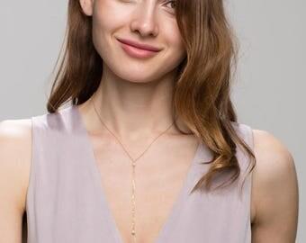 Mini Pearls lariat choker // Bridesmaids necklace gift