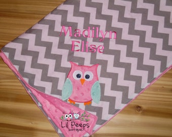 Owl- Personalized Minky Baby Blanket with Embroidered Owl-  Grey Chevron & Hot Pink Minky