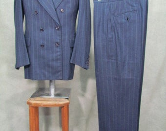 1940s Suit - 3 Piece Stripe Suit Jazz Swing Rockabilly Size 38L