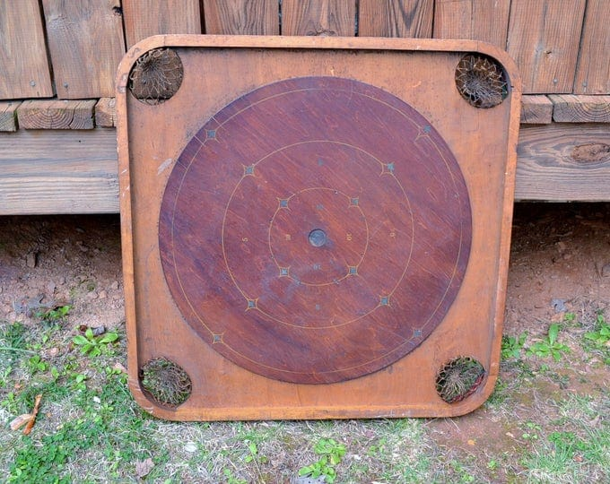Vintage Game Board Carrom Archarena Wooden Game Board with Pockets Pool Rustic Wall Decor PanchosPorch