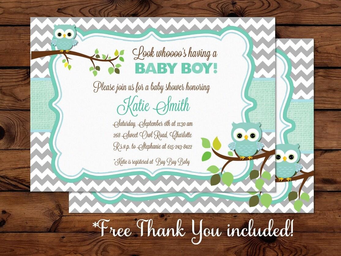 owl baby boy shower invitation by mybabiesbreath on etsy