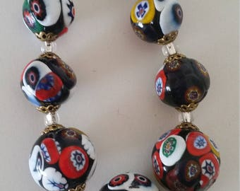 Vintage Murano Millefiori Glass Bead Necklace