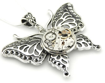 Clockpunk Butterfly Necklace  -  Clockwork Victorian Butterfly Pendant - Steampunk Insect Jewelry - Christmas Gift Idea