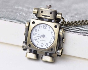 1 PC Antique Bronze Moveable Arm Robot Pocket Watch 47mm A8640
