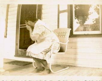 Vintage Photo..Shy Grandma, 1940's Original Found Photo, Vernacular Photography