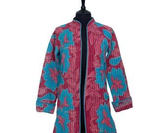 KANTHA JACKET - X Small - Long style - Size 8/10 - Raspberry and turquoise. Reverse similar