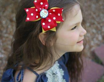 "Large 4"" kindergarten graduation hair bow - hairbow - school theme hair bow hairbow graduation kindergarten first grade"