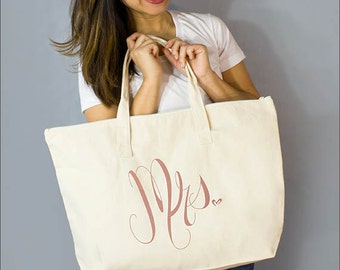 """Copper Mrs. Large Zip Tote: 100% Natural Cotton Canvas 22""""W x 15""""L x 5""""D Interior Zippered Pocket - By Alicia Cox/ Ellafly"""