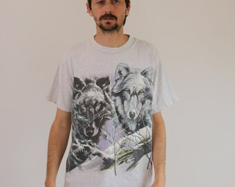 Snow Wolves 90s Tee Shirt Mens Large
