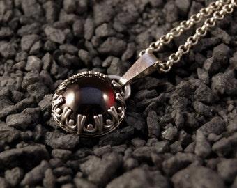 Handmade Garnet pendant, sterling silver, deep red pendant, crown setting, 15mm gemstone, gallery wire setting, January birthstone