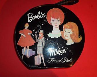 Vintage 1964 Mattel Midge and Barbie Round Hat Box Style Travel Pals Case