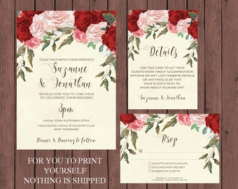 red roses wedding invitation suite, watercolour wedding invitation, Printable wedding invitation set, digital wedding invitation suite