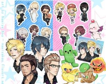 Final Fantasy XV STICKERS, Cute Anime Stickersheet, FFXV Noctis Prompto Gladio Ignis, Luna Cidney Ravus, Kawaii Manga Chibi Sticker Sheet