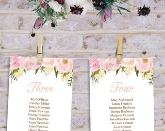 Wedding Seating Chart Template - DIY Printable Wedding Table Arrangement - Pink Floral - Hanging Seating Chart - Printable Letter & A4