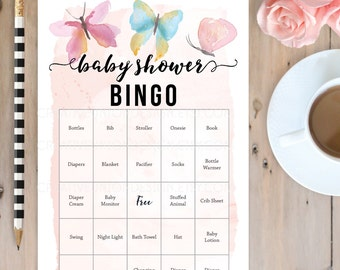 Butterfly Baby Shower Bingo  - 50 Unique Game Sheets - Baby Shower Games - Girl Baby Shower - Pink - Instant Download - Twin Baby Shower