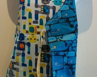 Apron boys reversible, cooking, Robots, animals, whales, blue, yellow, toddler