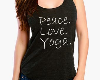 Peace Love Yoga - Ladies Racer Back Tank Top