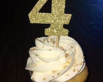 Gold Number Cupcake Topper