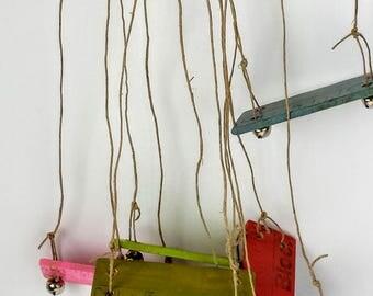 FAIRY SWINGS / Fairy Garden /  Variety of colors / Bells  / Miniature tree swing