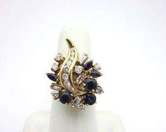 Vintage Blue Sapphire and Diamond Ribbon Cluster Ring Sz 5.25