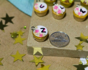 Alphabet Polymer Clay Cupcake Charm