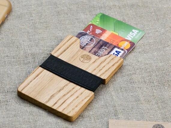 Wood wallet, Oak  SLIM Minimalist Wallet, Card holder, Best for boyfriend's gift , Slim & Light wallet, Mini Mens wallet  + Engraving