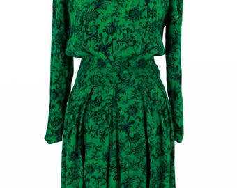 Vintage 1980s Green and Black Maggy London Dress Size M