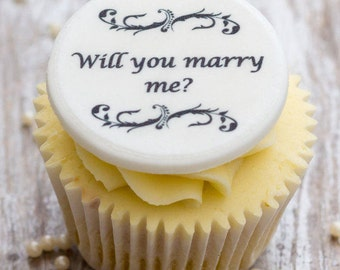 Will You Marry Me? Cupcake Toppers - personalised edible sugar proposal cupcake decorations (pack of 12)