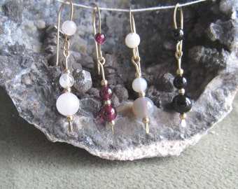 Earrings, rose quartz, garnet,botswana agate, and black onyx, 4 and 6mm on 12k goldfilled wire, 4mm on french earwire,  length 1 1/2 inch