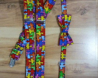 Autism Baby and Toddler Suspenders and Bow Tie